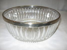 Lead Crystal Bowl With Silver Plate Rim Line Diamond Design F B Rogers?? - $14.95
