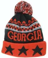 Georgia Men's Winter Knit Cuffed Pom Beanie Toboggan Hat Red/Black Stars - $11.95