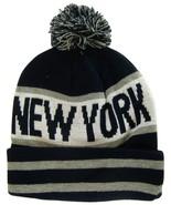 New York City Men's Striped Winter Knit Cuffed Beanie Toboggan Hat Black... - $11.95