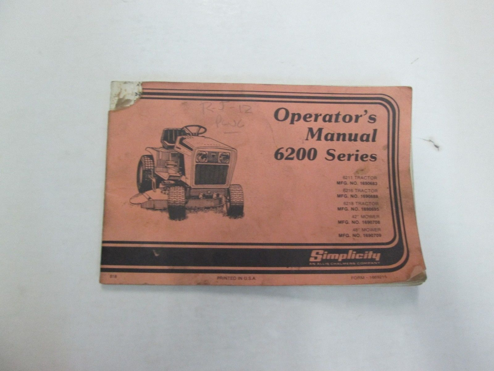 1982 Simplicity 6200 Series Operators Manual DAMAGED STAINED FACTORY OEM  DEAL 82