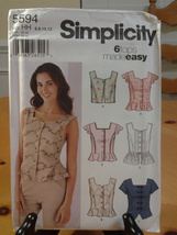 Simplicity 5594, Misses 6 tops made Easy, Sizes 6-12,  New - $7.99