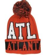 Atlanta Men's Winter Knit Cuffed Pom Beanie Toboggan Hat Red/Black/White - $11.95