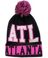 Atlanta Men's Winter Knit Cuffed Pom Beanie Toboggan Hat Black/Pink/White - $11.95