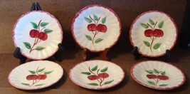 6 Blue Ridge Southern Pottery Potteries Cherry Bounce Saucers Plate 5 7/8""