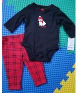 Carter's Casual Infant Girls 2 Piece Set, 100% Cotton Red & Black, 3 mon... - $9.90