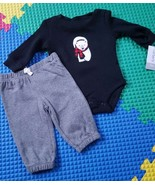 Carter's Infant Boys 2 Piece Set, 100% Cotton Gray & Black Size 3 mos Ca... - $10.00