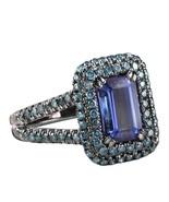 2.76 TCW Emerald Cut Deep Blue Tanzanite Diamond Engagement Anniversary ... - $1,602.81