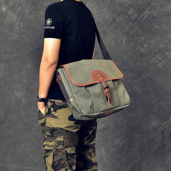 Sale, Canvas With Leather Messenger Bag, Large Capacity Shoulder Bag, Laptop Bag image 5