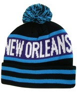 New Orleans Men's Striped Winter Knit Cuffed Beanie Toboggan Hat Cap Blu... - $11.95