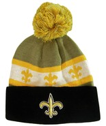 New Orleans Men's Striped Fleur De Lis Winter Knit Cuffed Beanie Hat Cap... - $11.95