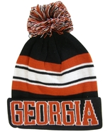 Georgia Men's Striped Winter Knit Cuffed Beanie Toboggan Hat Cap Black/Red - $11.95