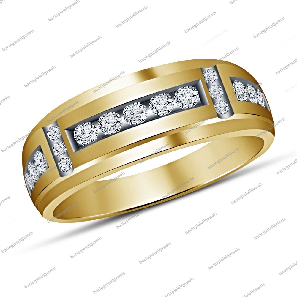 14k Gold Plated 925 Sterling Silver Round Sim Diamond Men's Wedding Band Ring