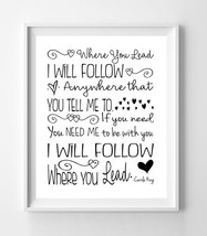 Gilmore Girls Print, Where You Lead I Will Follow 8x10 Wall Art Print, 7 Color C - $7.00+