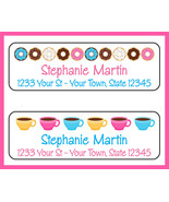 COFFEE and DONUTS Return Address LABELS, Donut - $1.75