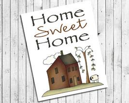 Home Sweet Home 8x10 Prim House Design Wall Decor Art Print - $7.00