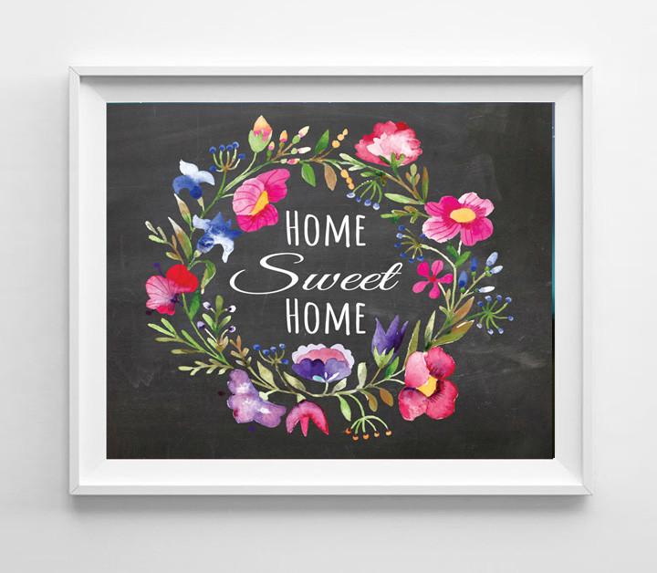 Home Sweet Home 8x10 Rustic Floral Design Wall Decor Art Print - $7.00 - $7.50