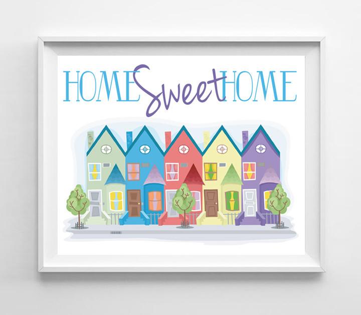 Home Sweet Home 8x10 Townhouse Design Wall Decor Art Print - $7.00 - $7.50