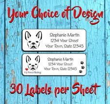 FRENCH BULLDOG Address Labels, French Bulldog Return Address Labels, I l... - $1.75