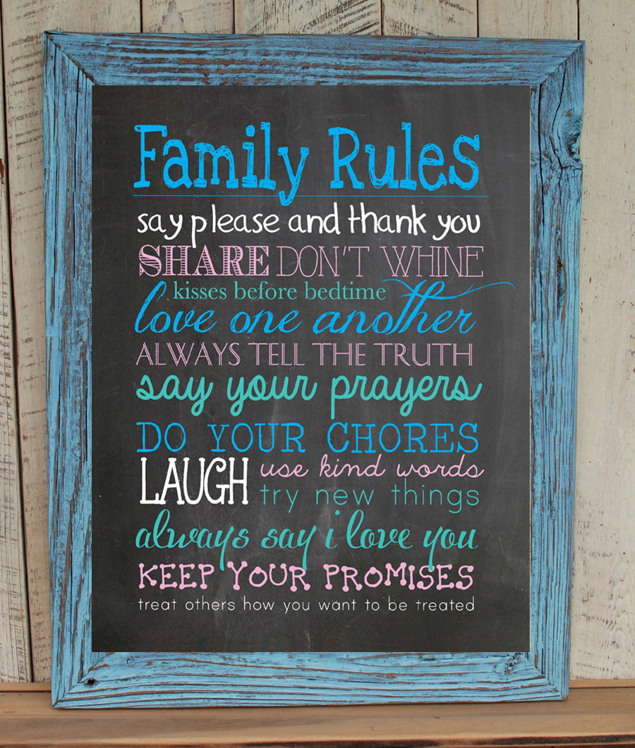 FAMILY RULES 8x10 Typography Art Print, Rustic Look Faux Chalkboard - $7.00 - $7.50