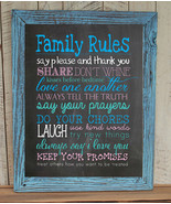 FAMILY RULES 8x10 Typography Art Print, Rustic Look Faux Chalkboard - $7.00+