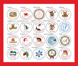 "Round CHRISTMAS LABELS / STICKERS / SEALS, 1.5"" Personalized Round Labels - $3.25"