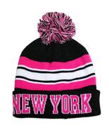 New York City Hunter Men's Striped Winter Knit Cuffed Pom Beanie Hat Blk... - $11.95