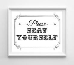 Please Seat Yourself Design Wall Decor Print 8x10 Humorous Bathroom Decor - $6.50+