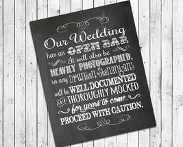 Rustic Look OPEN BAR, Humorous 8x10 Wedding Decor Print - $7.00+