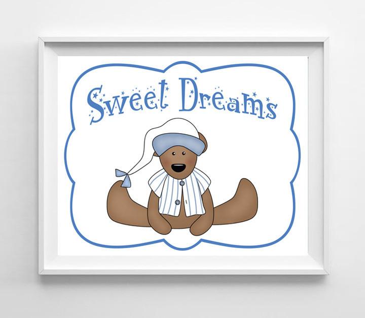 Sweet Dreams Nursery 8x10 Wall Art Decor PRINT, Boy Teddy Bear - $7.00 - $7.50