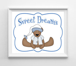 Sweet Dreams Nursery 8x10 Wall Art Decor PRINT, Boy Teddy Bear - $7.00+