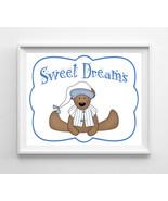 Sweet Dreams Nursery 8x10 Wall Art Decor PRINT, Boy Teddy Bear - $7.00+