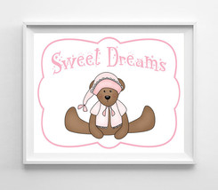 Sweet Dreams Nursery 8x10 Wall Art Decor PRINT, Girl Teddy Bear - $7.00+