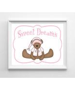 Sweet Dreams Nursery 8x10 Wall Art Decor PRINT, Girl Teddy Bear - $7.00+