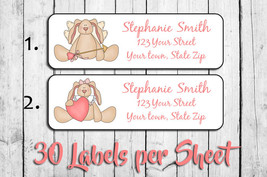 Valentine's Day Address Labels, Personalized Cupid Bunny Design - $1.75
