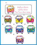 VW Bus, VW Flowered Buses Personalized Return Address Labels - $1.75