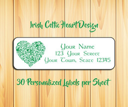 IRISH HEART Personalized Celtic Return Address LABELS - $1.75