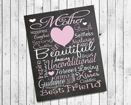Mom, Mother Love Typography 8x10 Wall Art PRINT Gift - $7.00+