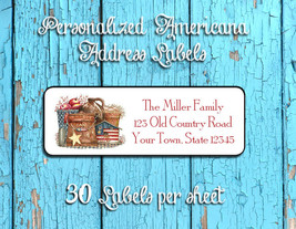 Personalized AMERICANA Grouping Design Return ADDRESS Labels - $1.75