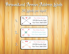 Personalized Crossed ARROWS and HEARTS Return ADDRESS Labels - $1.75