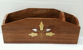 Wooden Desk Accessory Brass Mother of Pearl Inl... - $9.89