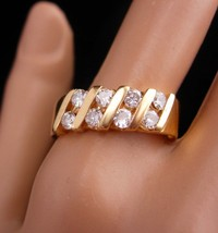 8 Diamond wedding ring / 1 1/2ct MENS wedding band / Vintage 14kt yellow... - $625.00