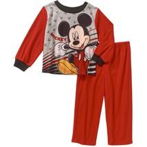 NWT Disney Mickey Mouse Boy's 18 Months Flannel Pajamas Sleepwear Set Red - $9.49