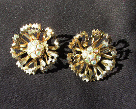 "Sarah Coventry clip earrings gold tone flower with rhinestone centers 1 1/8"" - $4.90"