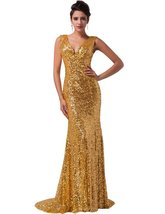 Women's Gold Sequins Prom Dresses Mermaid Long, Formal Evening Gown, Party Dress - $149.00