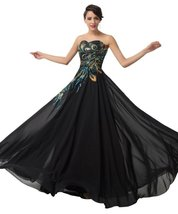 Women's Long Peacock Prom Dresses Black, Formal Evening Gown, Party Dress - $139.00