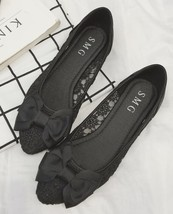 Black Lace Dress Shoes,Black Women Shoes for Bridal,Black lace flats shoes - $38.00