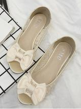 Gold Bowtie Open Toe Flat Shoes/Gold Peep Toe Flats/Champagne ballet fla... - $38.00