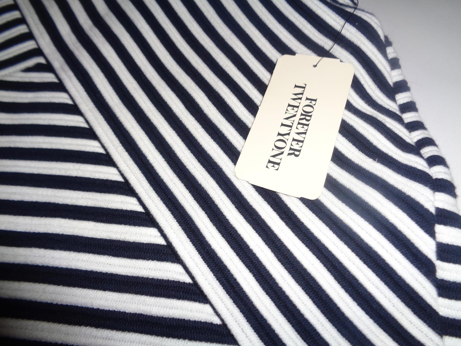 Forever 21 Mini Skirt Navy & Cream Cross Stripes NWT SZ SMALL