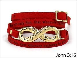 Stylish Red John 3:16 Red Leather Wrap Inspirational Bracelet with Gold ... - $215,99 MXN