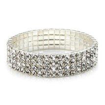 Sterling Swarovski Round Crystal Stretch Bracelet 25 Carrot White Metal ... - $39.15